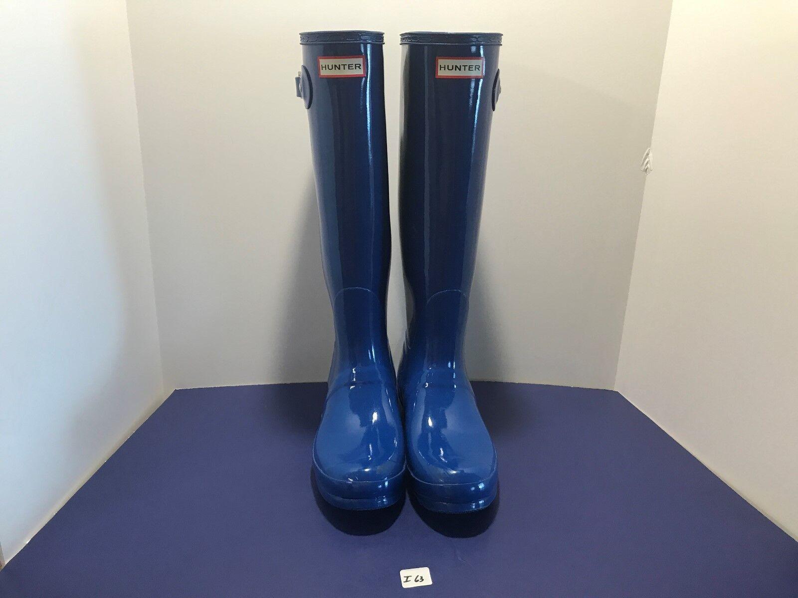 HUNTER Tall Gloss Blu Gomma  Buckle Rain stivali US 8 EU 39 UK 6 I63  grande sconto