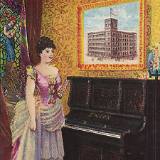 Estey Piano Co New York NY Factory View Antique Victorian Advertising Trade Card