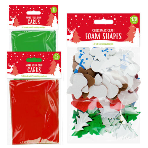 Make Your Own Christmas Xmas Cards Red Green 15 Pack 120 Foam Shapes Kids Craft