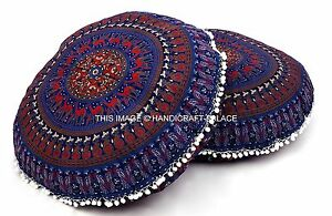 2 PC Mandala Indien Sol Oreiller Pouf Ottomane Housse Rond Bleu Coussin Pouf