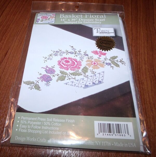 Tobin Stamped Embroidery Basket Floral 14