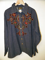 Woman's Qvc Bob Mackie Wearable Art Blue Denim Embroidered Shirt Sz M
