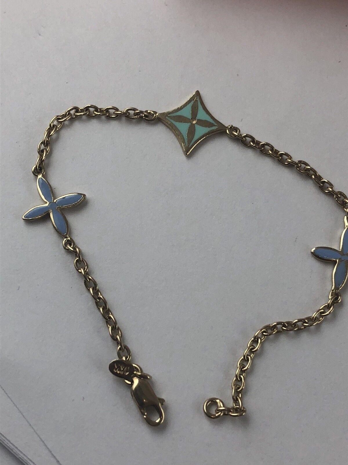 Vintage 14 K gold Enamel Chain Link Bracelet