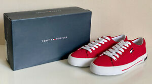 NEW-TOMMY-HILFIGER-FLINT-WOMEN-039-S-RED-LACE-UP-CANVAS-SNEAKERS-SHOES-8-38-SALE
