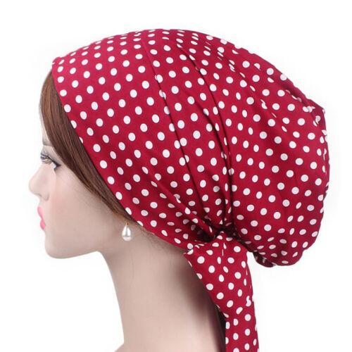 Muslim Hijab Turban Headscarf Hat Cotton Print Long Streamer Hair Tie Chemo Cap