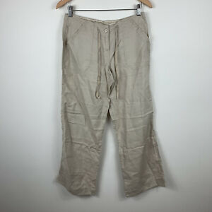 Atmosphere-Womens-Pants-Size-10-Pure-Linen-Beige-With-Pockets