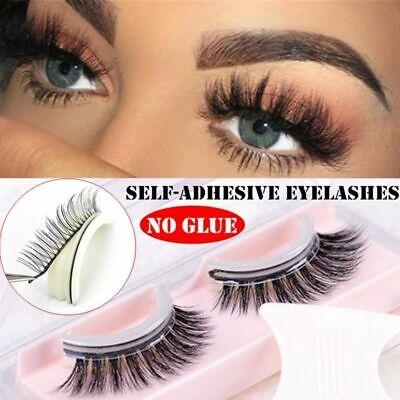 fd0eba9a587 Details about 3D No Glue False Eyelashes Self Adhesive Makeup Fake Lashes  Extension Reusable