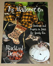 "Blackbird Designs ""Tis Halloween"" 13 Stockings & Cross Stitch Project Patterns"