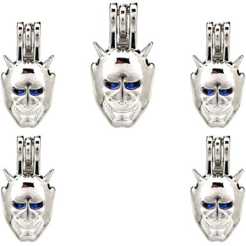5X-K841 Ruban Couleur Perles Perle Cage Monstre Masque médaillon pendentif