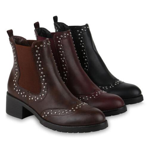 Damen Chelsea Boots Modische Stiefeletten Blockabsatz 818724 Schuhe