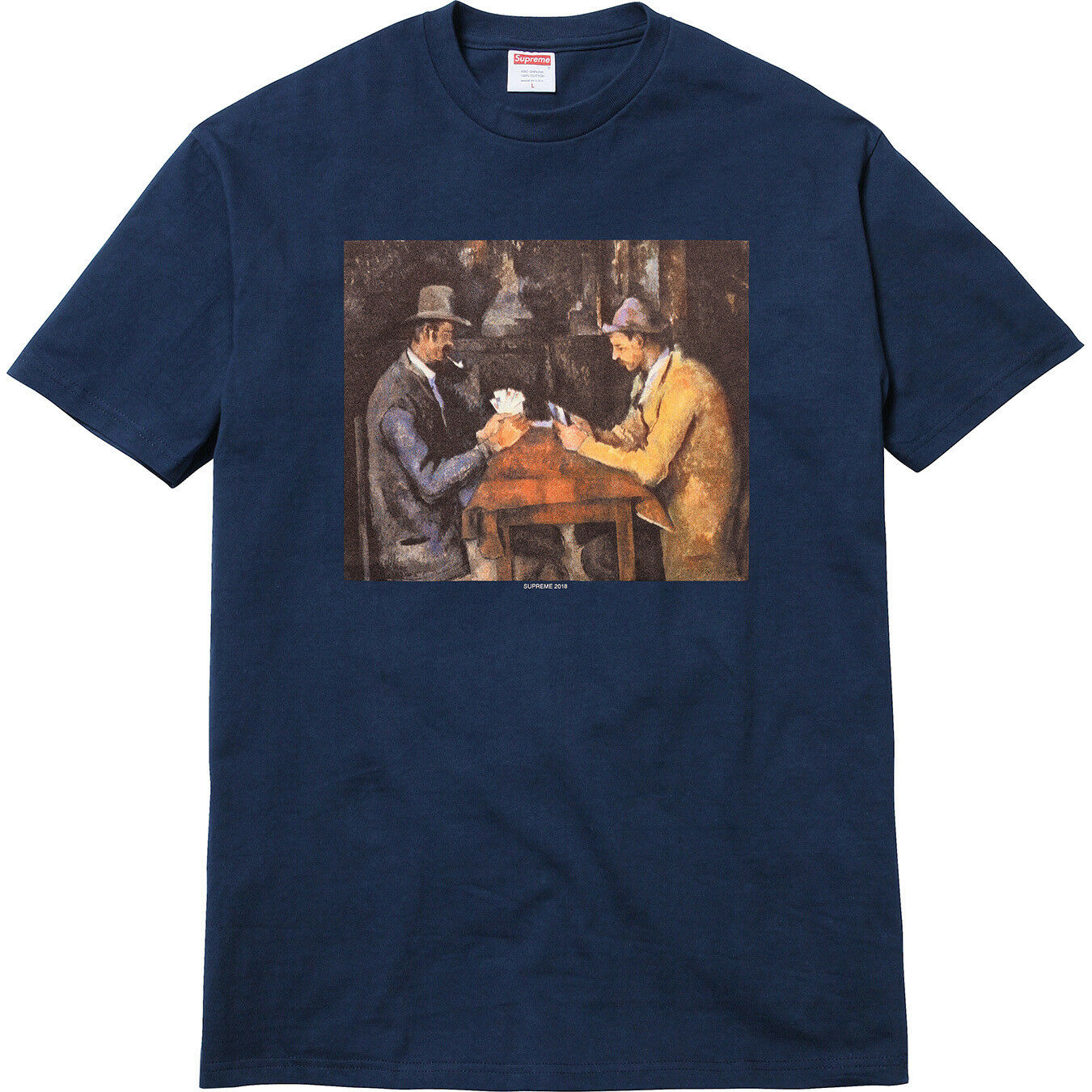 SUPREME CARDS Tee Navy bluee XL SS 2018 T-SHIRT The Card Players by Paul Cézanne