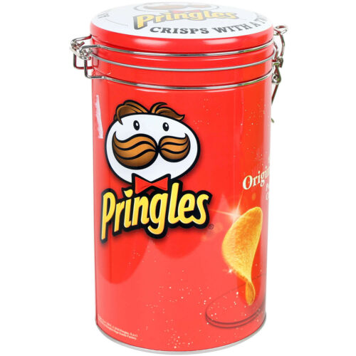 Pringles Rouge Cylindre SCELLABLES stockage étain cuisine biscuit Canister Container