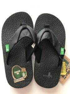 0e58a1df7360 Kids Sanuk ROOTBEER COZY Black Flip-Flop Thong Sandal Shoes Sz 12-13 ...