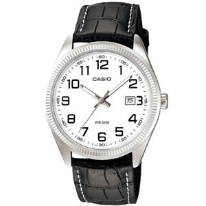 Casio-Uhr-MTP-1302PL-7BVEF-Herren-Armbanduhr-Leder-Silber-Weiss-Datum-NEU-amp-OVP