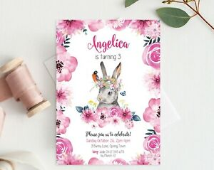 Image Is Loading Pink Floral Bunny Personalised Birthday Invitation DIGITAL PRINTABLE