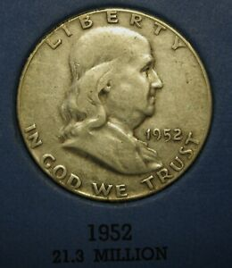 1952-Ben-Franklin-Silver-Half-Dollar-Average-Circulated-Condition-Great-Price