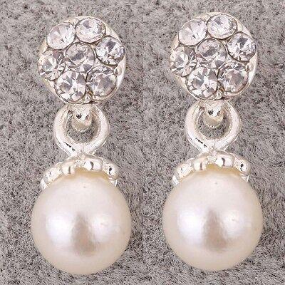Fashion Cute Design Flower Shape Rhinestone Inlay Imitate Pearl Silver Earrings