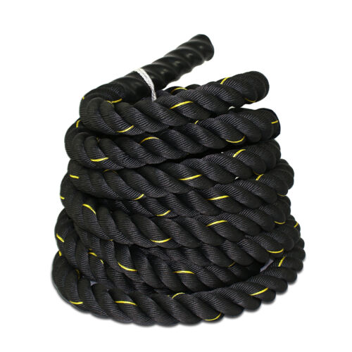 "BLACK1.5""2"" x 30/40/50ft Battle Rope Workout Training Undulation Poly Dacron Gym"