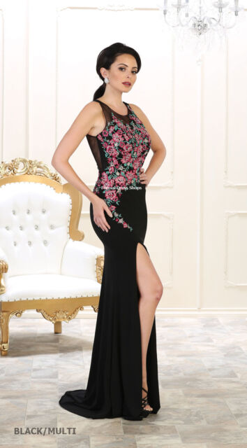 EVENING PROM STRETCHY DRESSES FORMAL DESIGNER SPECIAL OCCASION FLORAL LONG GOWNS