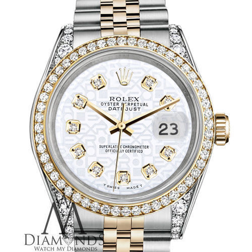 Ladies Rolex Steel & Gold 26mm Datejust White Jubilee Diamond Dial Watch