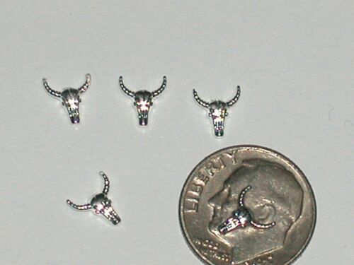 2 miniature dollhouse tiny skull horns floating locket pendant Longhorn charm