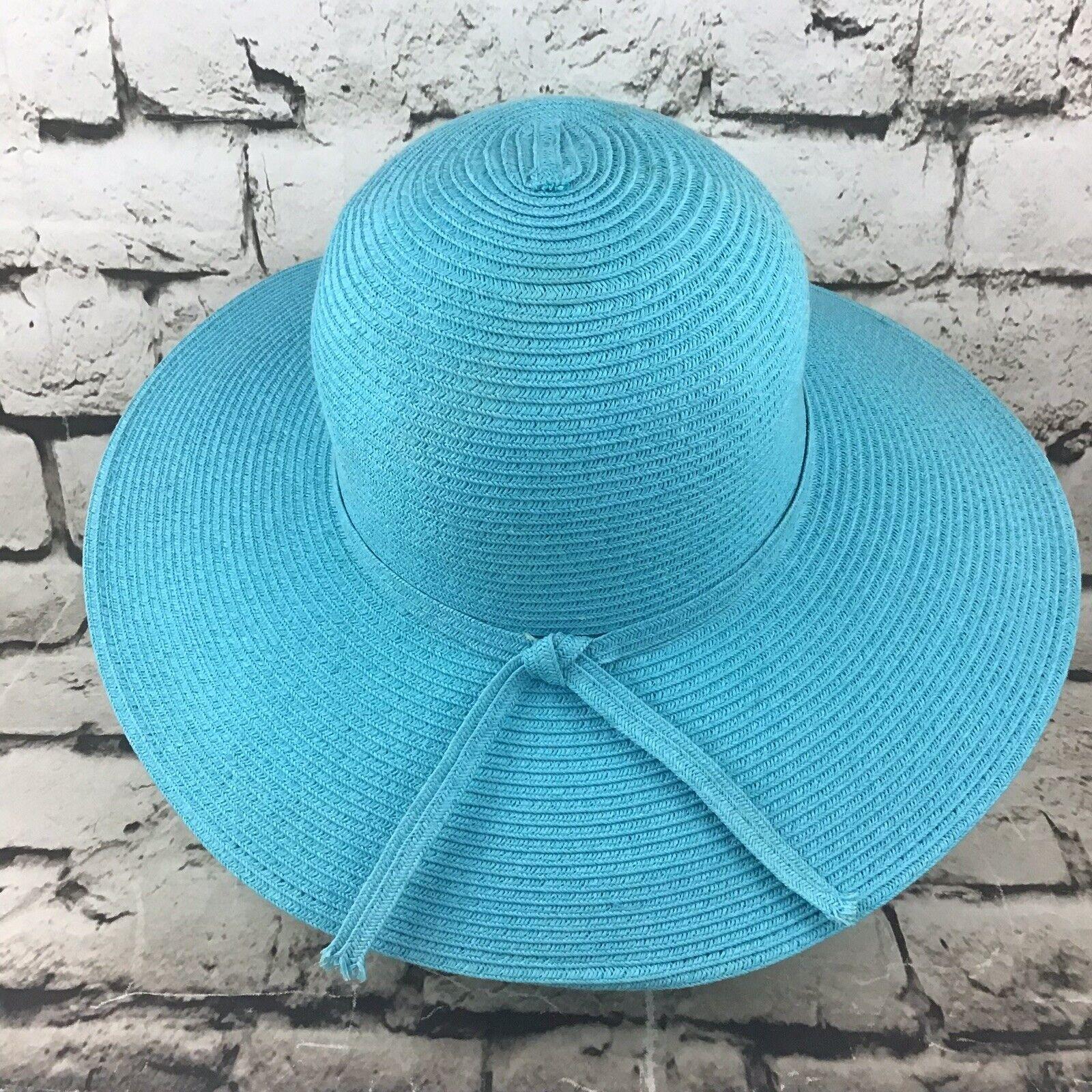 Womens OSFA Hat Sky Blue Straw Wide Brim Floppy S… - image 3