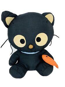 Vintage-1998-Sanrio-Chococat-Cat-Black-Nylon-Plush-Soft-Stuffed-Animal-Toy-Fish