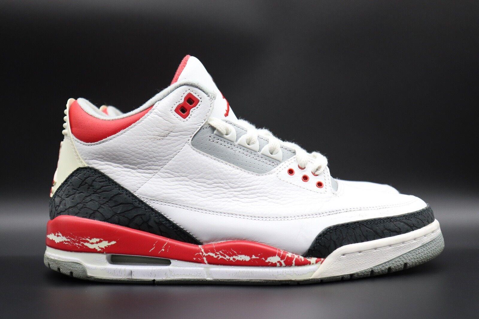 Nike Air Jordan 3 sz 9.5 Fire Red 2005 Cement DTRT Cool Grey JT FT Free Throw
