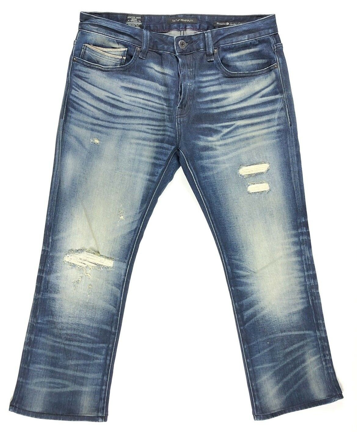 Cult of Individuality Stretch Jean Rebel Straight Fit Men Size 34x28 Dark Wash