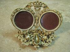 FLORENZA Double Locket Style MINI PHOTO FRAME Crown/Jeweled VANITY DRESS VTG