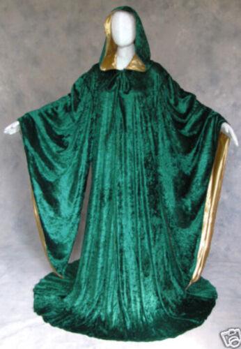 Velvet Halloween Hooded Wizard Medieval Renaissance Cloak Line With Sleeves