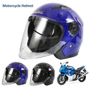 Casque-Demi-Modulable-Universel-Scooter-Moto-Casque-Double-Pare-Soleil-Noir-Bleu