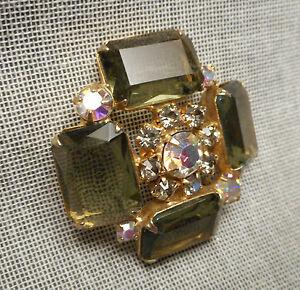 Big 1950's Jeweled Button - Smoke Faceted Glass w/ Aurora Borealis Rhinestones