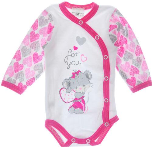 Body Langarmbody 56 62 NEU Baby Body Reborn Weiß Pink Herzchen Wickelbody