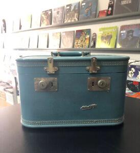 Vintage-Travel-Toy-Bkue-Hardshell-Luggage-Makeup-Case-w-Mirror