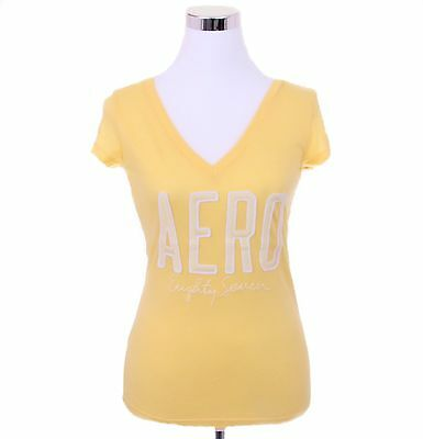 Aeropostale Women Casual Solid V-Neck Graphic T Shirt Style 4226-Free $0 Ship