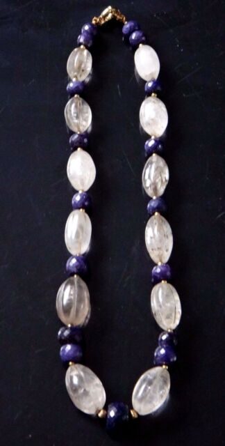 Elegant collier cristal roche lapis lazuli pierres old stone necklace crystal