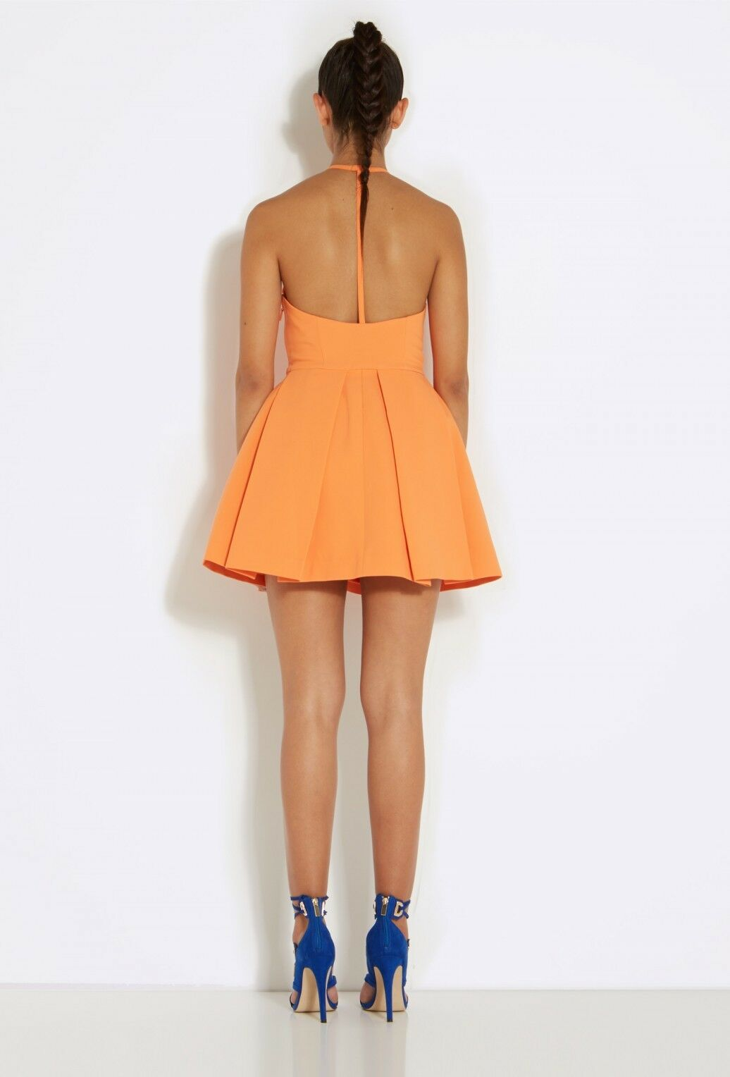 AQAQ Mia Orange Halterneck Mini Dress with Lantern Lantern Lantern Skirt Größe UK 8 LF170 EE 01 f84211