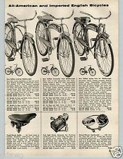 1957 PAPER AD Tent Robin Hood Bicycle Bike Rollfast Arch Bar Streamline Tank