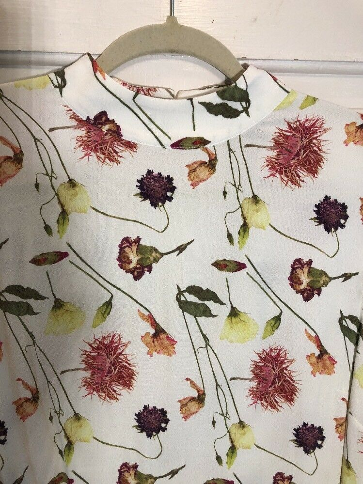 Nwt And Other Stories Mock Neck Wildflower Weiß Floral Dress US 12