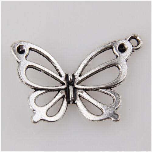 35 Butterfly Tibetan Silver Charms Pendants Jewelry Making Findings 18mm EIF0115