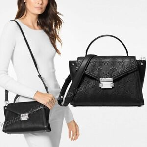 b45cb1253229 Details about NWT🌸Michael Kors Whitney Medium Top Handle Quilted Leather  Satchel Black Silver
