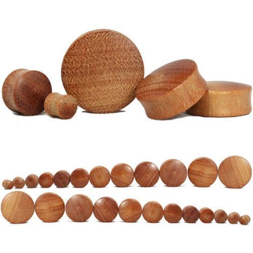 2PCS Organique Naturelle Bois Bouchons d/'oreille Boucle d/'oreille Saddle Fit oreille jauges Body Jewelry