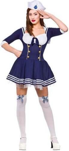"""LADIES BLUE /""""HELLO/"""" SAILOR FANCY DRESS COSTUME"""
