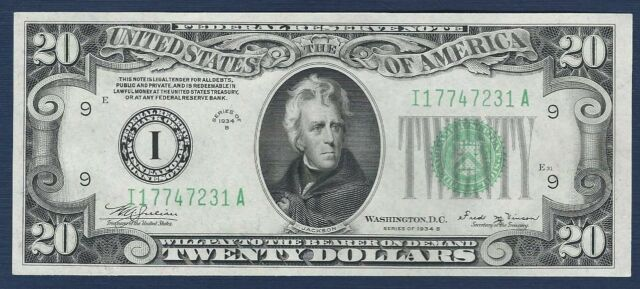 "1934-B *Minneapolis* $20 Federal Reserve Note ""Gem Crisp New"""