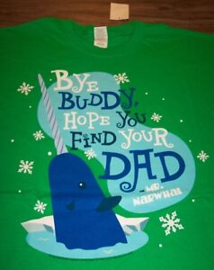 fc95d0ab1 ELF MR. NARWHAL BYE BUDDY FIND YOUR DAD CHRISTMAS T-Shirt LARGE NEW ...
