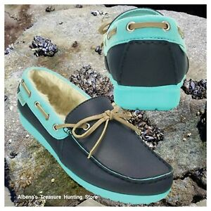 ae5d459ddb4ba NWT CROCS ColorLite Women s Lined Loafers Navy Pool Size US 7 EU 37 ...
