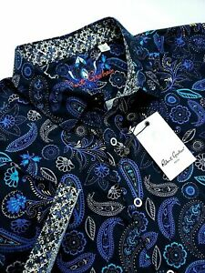 Robert-Graham-Paisley-Geometric-Print-Short-Sleeve-Sport-Shirt-Black-Blue-199