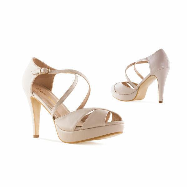 9,5 cm beige stilettos tacón alto sandalias untergrössen Petite talla 32 33 34 35