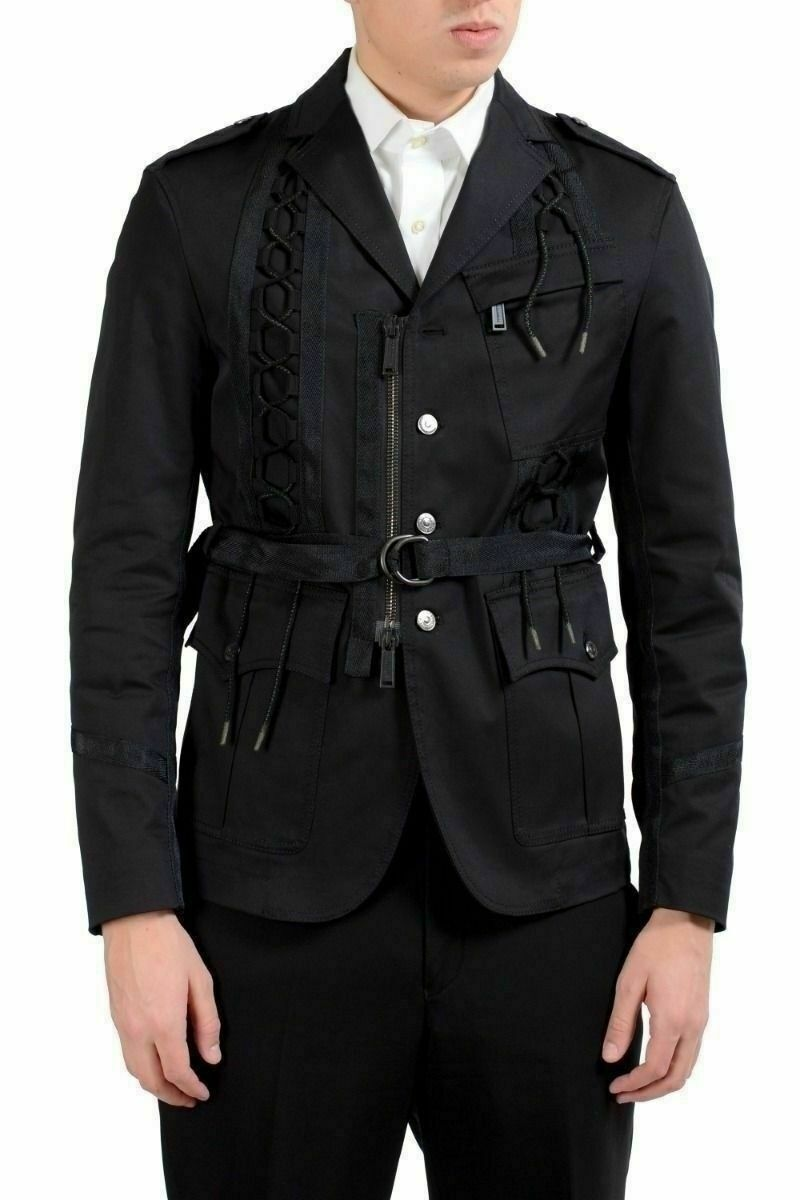 Dsquared2 Wool shoeslace Decorated Belted Blazer Men's Sport Coat US 38 IT 48